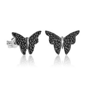 Gümüş Siyah Kelebek Küpe