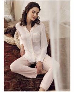Artış Collection 1208 Bayan Erkek Yaka Pijama Takımı Somon