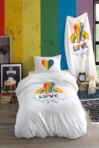 Love is Love Pamuklu Tek Kişilik Nevresim Takımı