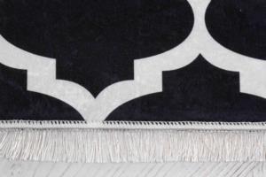 Seven Home Dekoratif Kaymaz Dokuma Tabanlı Halı 57- D 293 Siyah