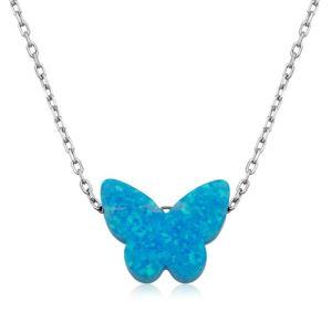 Gümüş Mavi Opal Taş Kelebek Bayan Kolye