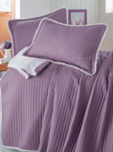 Evim Home Çift Kişilik Ponponlu Yatak Örtüsü Seti Açık Mürdüm