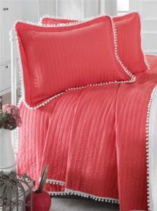 Evim Home Çift Kişilik Ponponlu Yatak Örtüsü Seti Mercan