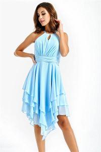 Eteği Katlı Volanlı Şifon Abiye Elbise Bebe Mavi