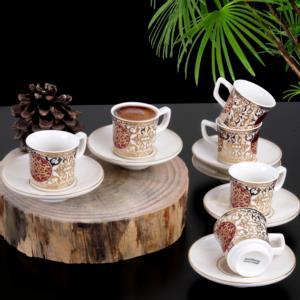 Güral Porselen 12 Parça El Dekoru Hüma Bordo Türk Kahvesi Takımı