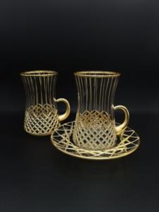 Özcam Kristal 18 Parça El Yapımı Kesme Dekorlu Desen Çay Takımı D-1146