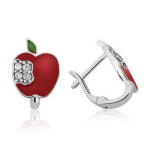 Gümüş Kırmızı Elma Çoçuk Küpesi