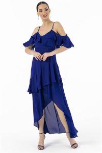 Askılı Volanlı Krep Şifon Elbise Saks