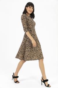 Saygı Leopar Desen Cepli Pileli Örme Elbise