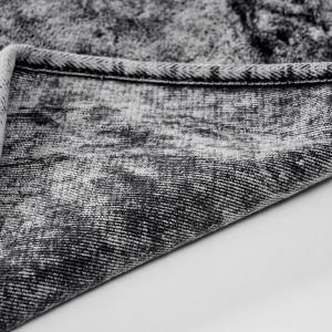 Alanur Damaks Eskitme Antrasit Cotton Yuvarlak Halı ( 120 x 120 cm )