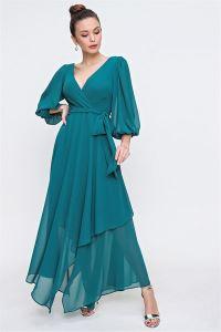Kruvaze Balon Kollu Uzun Şifon Elbise Yeşil