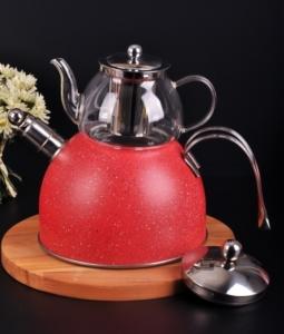Bayev Granit Düdüklü Cam Çaydanlık-200601-Kırmızı
