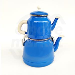 Alev Vintage Emaye Çaydanlık Mavi