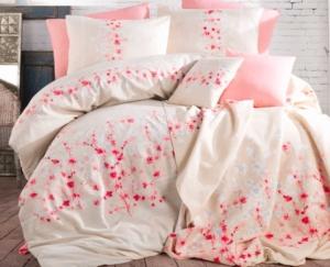 Cotton Life Çift Kişilik Polycotton Nevresim Takımı Sakura Ekru