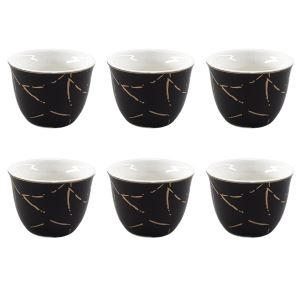 Kitchen World YFT-027 Porselen 6lı Mırra Fincanı Siyah