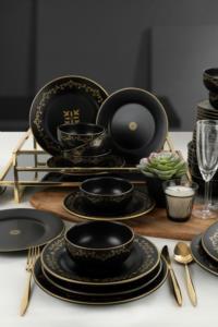 Keramika Riva Mat Siyah Gold Yemek Takımı 48 Parça 12 Kişilik