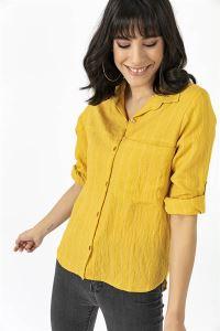 Tek Cepli İnce Çizgili Kol Katlamalı Gömlek Sarı