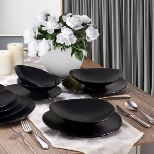 Keramika 24 Parça 6 Kişilik Oval Mat Siyah Yemek Takımı