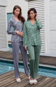 Jar Pierre Bayan Desenli Önden Düğmeli Pijama Takımı -Yeşil