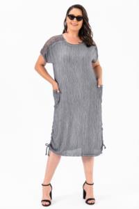 Saygı Omuzu Güpür Krınkıl Cepli Büyük Beden Koyu Gri Elbise