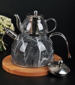 Bayev Mermer Düdüklü Cam Çaydanlık-200602- Siyah