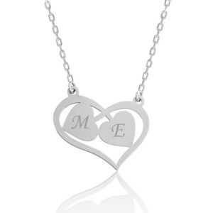 Gümüş Harfli Birleşen Kalpler Kişiye Özel Kolye