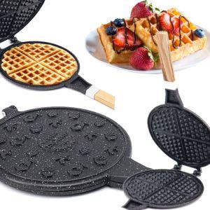 Porsima Döküm Waffle Tavası Ahşap Kulp Siyah