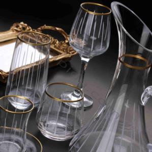 Royal Kristal 31 Parça Cam Seti Çizgili Dekor Gold