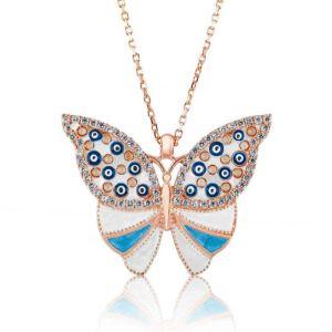 Gümüş Nazarlı Kelebek Bayan Kolye