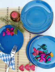 Asaf  24 Parça Porselen Yemek Takımı Antik Mavi