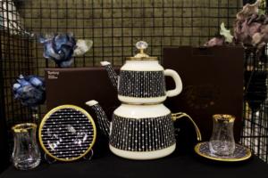 Beyler Vintage Çaydanlık Seti Damla Siyah