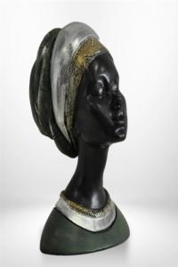 Dekoratif Afrikalı Kadın Biblo 22x16 cm Gümüş