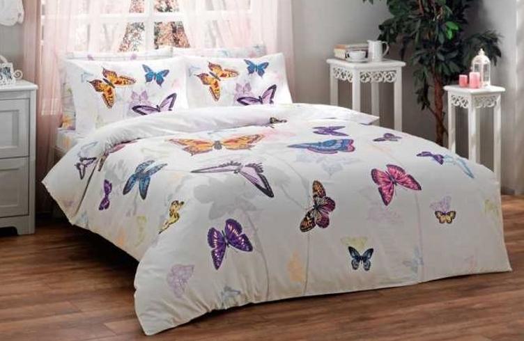 Tac Cift Kisilik Butterfly Mavi Mako Saten Nevresim Takimi Alkapida Com