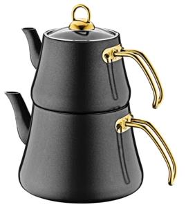 Oms Büyük Boy İndüksiyonlu Elagant Çaydanlık Takımı 8203 Siyah