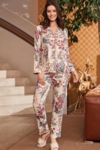 Mecit Önden Düğmeli Çiçekli Kadın Pijama Takımı 5248