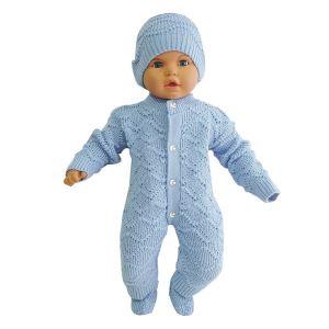 Mavi , Bereli Triko Erkek Bebek Tulumu