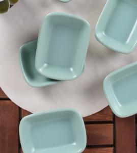 Keramika 6 Adet 13 Cm Kayık Dikdörtgen Mat Açık Yeşil