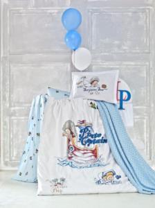 Luoca Patisca Pamuk Ranforce Bebek Nevresim ve Battaniye Seti - Pirate Mavi