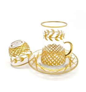 Özcam Kristal 18 Parça Kesme Dekorlu Çay Takımı- D-1649