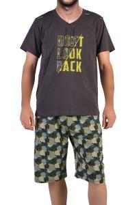 Tom John Erkek Şortlu Bermuda Pijama Takımı Kısa Kollu Cepli Pamuk