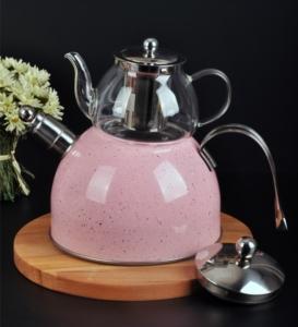 Bayev Granit Düdüklü Cam Çaydanlık-200601- Pudra