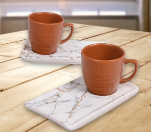 Keramika 4 Parça Mat  Kahverengi Mermer ikramlık Kahve Seti-17802