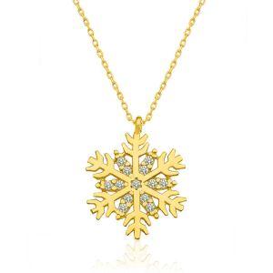 Gümüş Gold Kar Tanesi Bayan Kolye