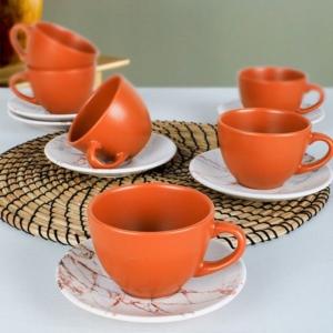 Keramika 12 Parça 6 Kişilik Kera Çay Takımı Kahverengi Mermer -17802