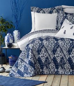 Karaca Home Urla Mavi Çift Kişilik Nakışlı Nevresim ve Yatak Örtüsü Set