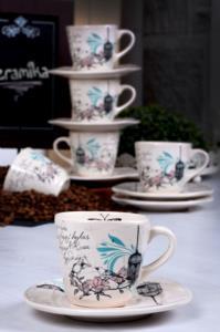 Keramika Retro Çay Takımı 12 Parça 6 Kişilik