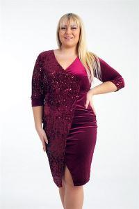 Tek Yanı Pullu Büyük Beden Likra Kadife Elbise Bordo