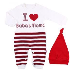 I love Baba&Mama Baskılı Kırmızı Bereli Çizgili Tulum
