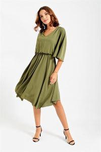 Eteği Asimetrik Volan Kollu Elbise Yeşil
