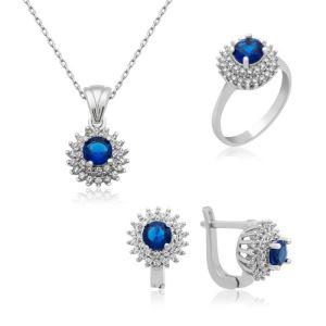 Gümüş Mavi Zirkon Taşlı Bayan Set